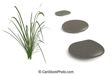 Three Grey Pebbles with Grass - digital render of three grey...