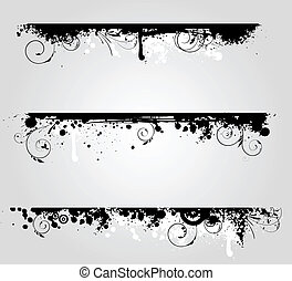 Three grunge banners with floral elements
