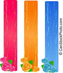 Three grunge banners with roses