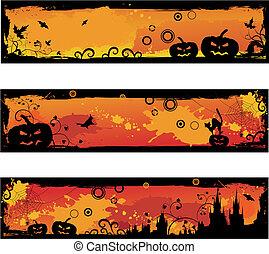 Three grunge halloween banners