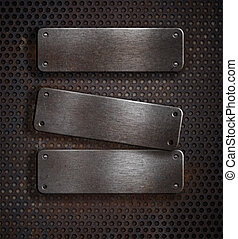 three grunge rusty metal plates over grid background