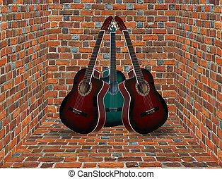 three guitars in the corner of the brick room