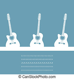 Three guitars on a blue background. A vector illustration
