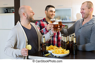 Three guys  at house party