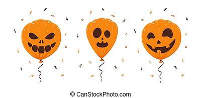 Three Halloween Balloons on White Background
