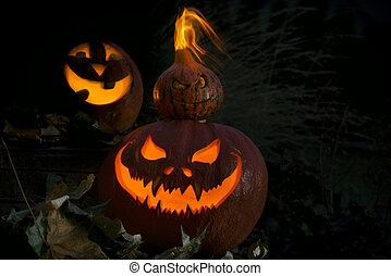 Three Halloween Jack O' Lantern