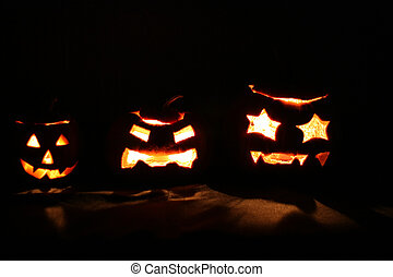 Three Halloween Jack-O-Lanterns