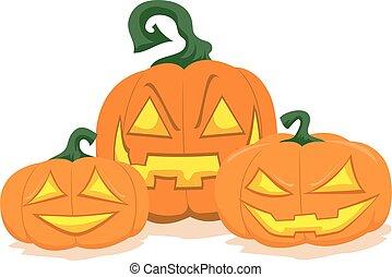 Three Halloween Pumpkin Display