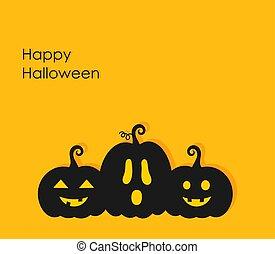 Three Halloween pumpkin lanterns background.