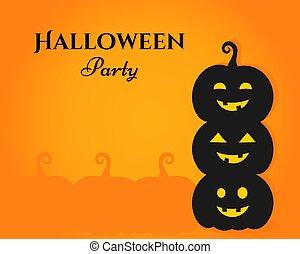 Three Halloween pumpkin lanterns on orange background