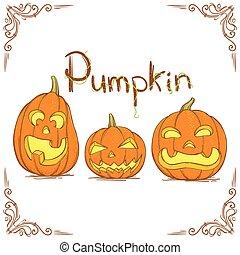 Three Hand Drawn Pumpkin