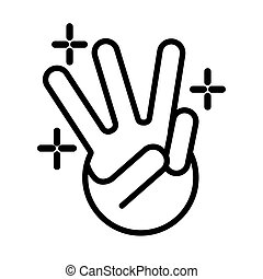 three hand signal line style vector illustration design