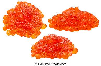 three handfuls of red salmon caviar isolated