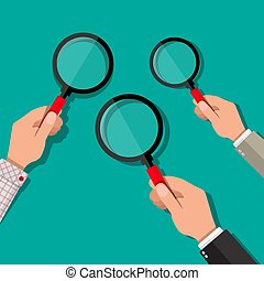 Three hands holding a magnifying glass