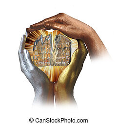Three hands in bronze colors with Ten Commandments