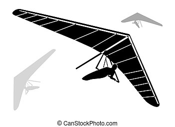 Three Hang Glider Silhouettes on white background