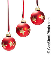 three hanging dull red christmas balls with golden glitter stars on white background