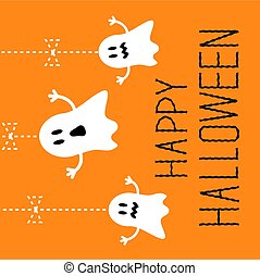 Three hanging Halloween ghosts. Card.