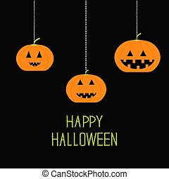 Three hanging pumpkin. Halloween card for kids. Black background Flat design.