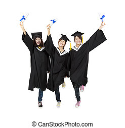 three happy asian graduation student isolated on white
