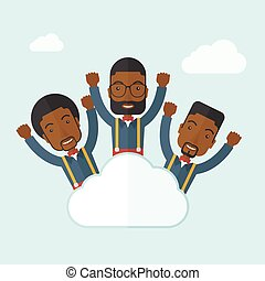 Three happy businessmen on the cloud.