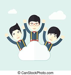Three happy chinese businessmen on the cloud