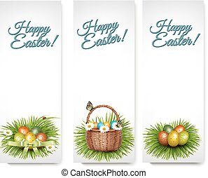Three Happy Easter banners with easter eggs in a basket and grren grass. Vector.