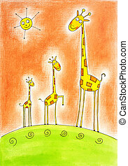 Three happy giraffes, child's drawing, watercolor painting on paper