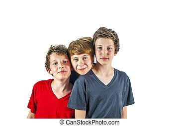 three happy joyful friends enjoy life