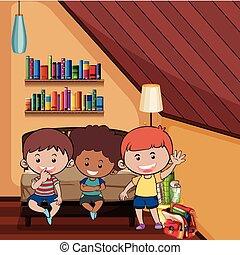 Three happy kids in bedroom