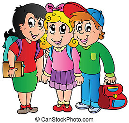 Three happy school kids - vector illustration.