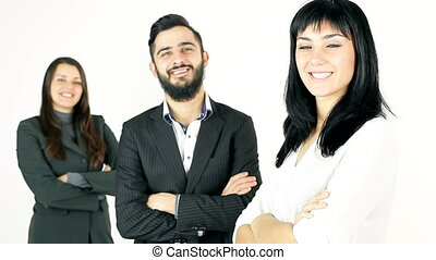 smiling business people in studio