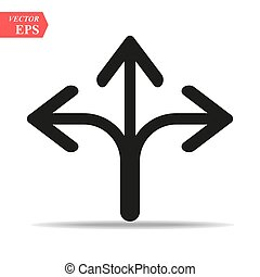 Three Headed Arrow Icon in trendy flat style isolated on grey background. Arrow symbol for your web site design, logo, app, UI. Vector illustration, EPS10 .