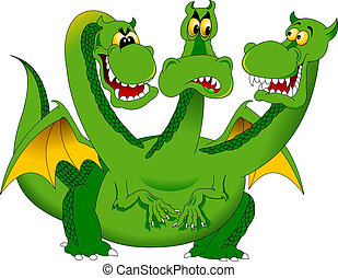 Green three headed dragon - color illustration.Three Headed Animal Drawing