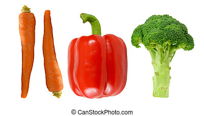 carrots pepper and broccoli three healthy choices on a white background