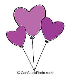 Three Heart Balloons