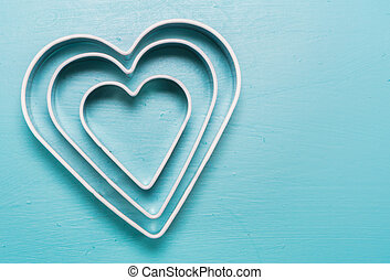 Three Heart Cookie Cutters With Copy Space