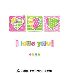 three hearts I love you card