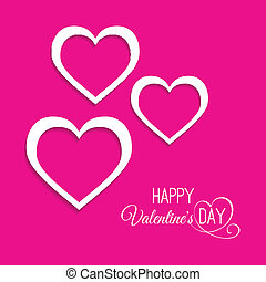 three hearts on a pink background