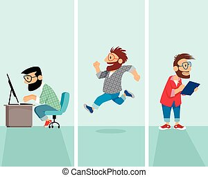 Three hipster in situation - Vector illustration of a three...
