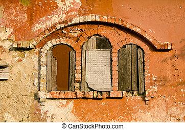 historical manor ruins windows - three historical manor...