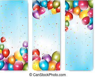 Three holiday banners with colorful balloons. Vector.
