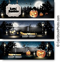 Three Holiday Halloween Banners with Pumpkins. Vector
