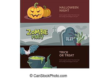 Three horisontal banners with vector illustrations of halloween