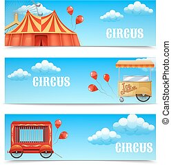 Three horizontal circus banners