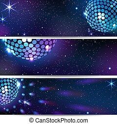Three Horizontal Disco Backgrounds.