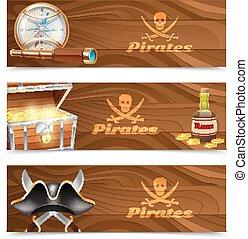 Three horizontal pirate banners