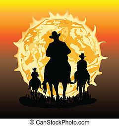Three horsemen illustration