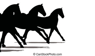 Three horses run, black on white.