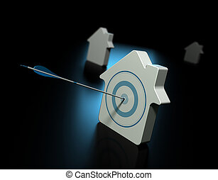 Three houses over black with blue reflection, the first house is pierced by an arrow in the center of the target, the other properties at the background are blurry, symbol of real estate and property